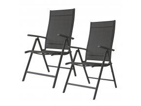 Sada 2ks polohovatelných zahradních židlí SIMPLY