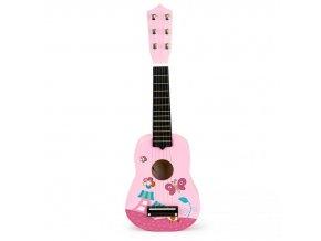 Dětská dřevěná kytara Pink Butterfly