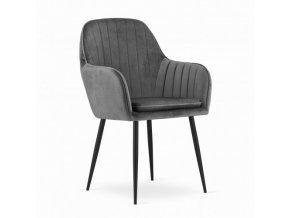 Sametová stolička Dark Grey VELVET