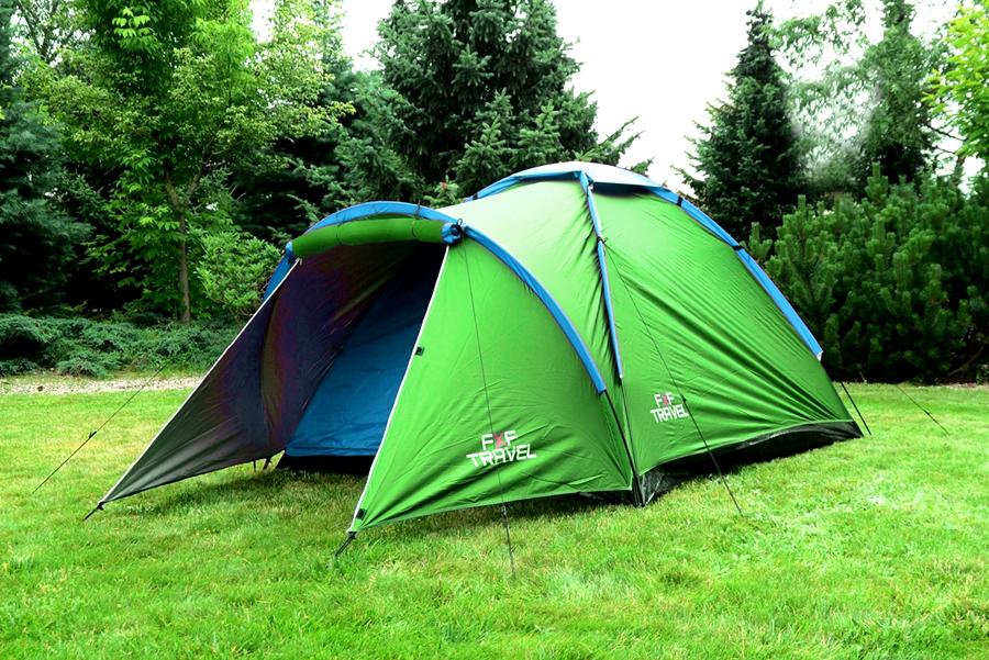 Turistický stan pro 4 osoby Zelený flexifit 2