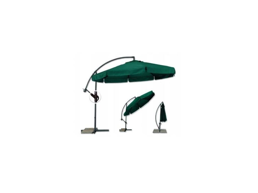 Záhradný skladací zelený slnečník 350cm