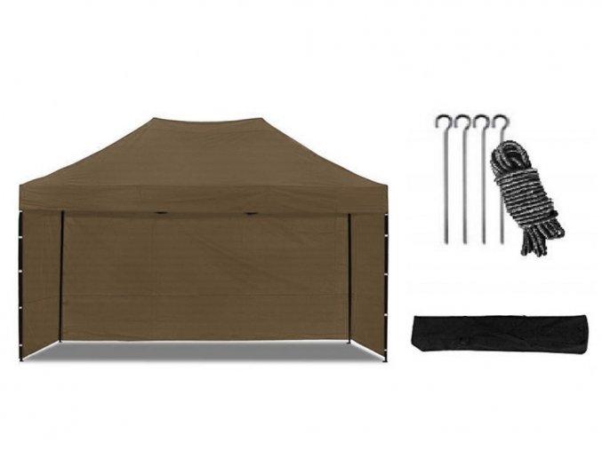 Nožnicový stan 3x4,5 m hnedý All-in-One