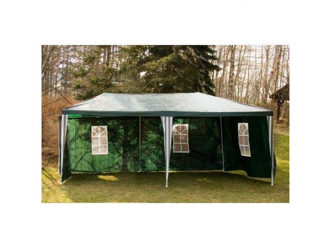 Zahradný altánok 3x6m skladací + 6 stien, zelený