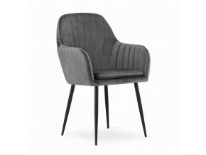Zamatová stolička Dark Grey VELVET