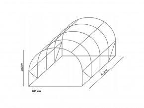 Konštrukcia k záhradnému fóliovníku 2x4m STANDARD