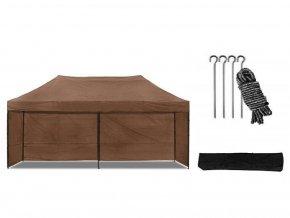 Nožnicový stan 3x6 m hnedý All-in-One