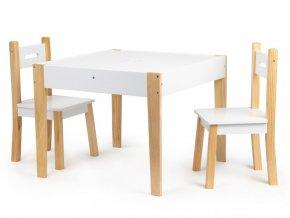 Detský drevený stolík MULTI + 2 stoličky