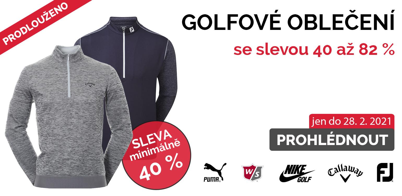 Sleva minimálně 40 % na golfové oblečení