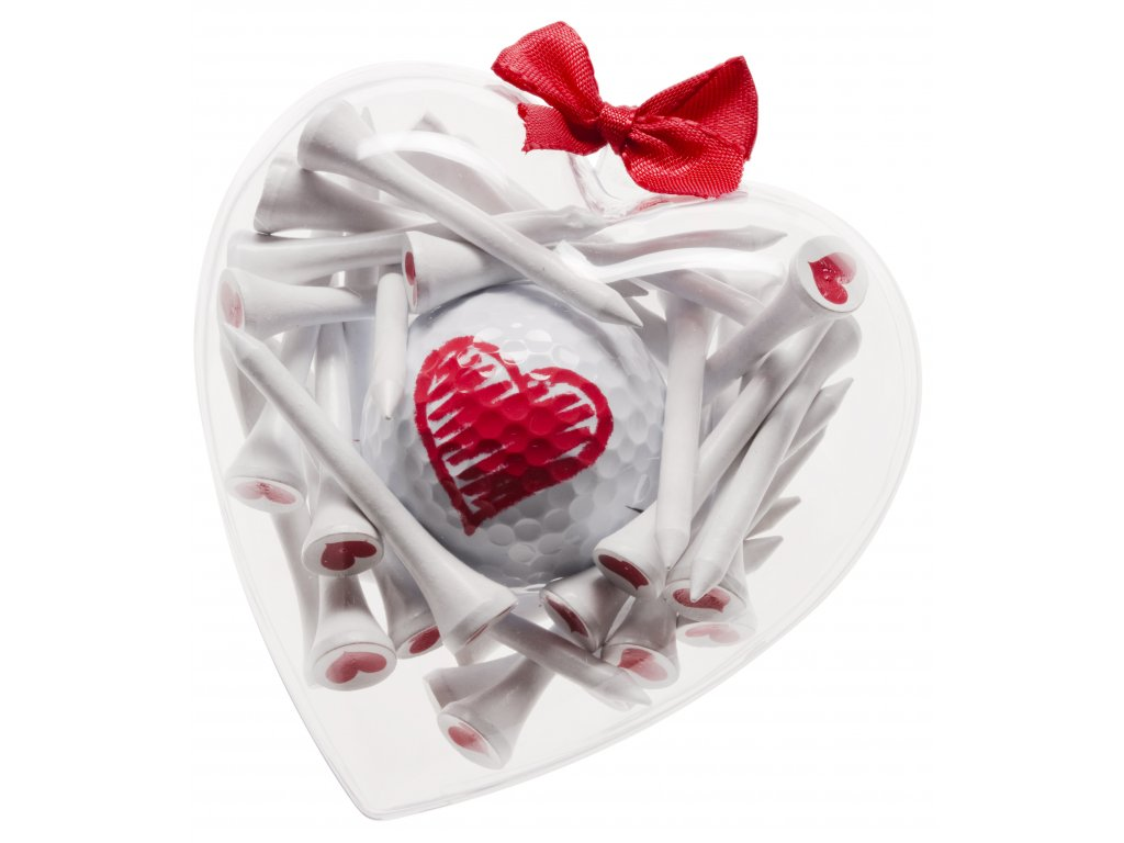 SPORTIQUES dárkové balení s golfovým míčkem a tees Srdce malé