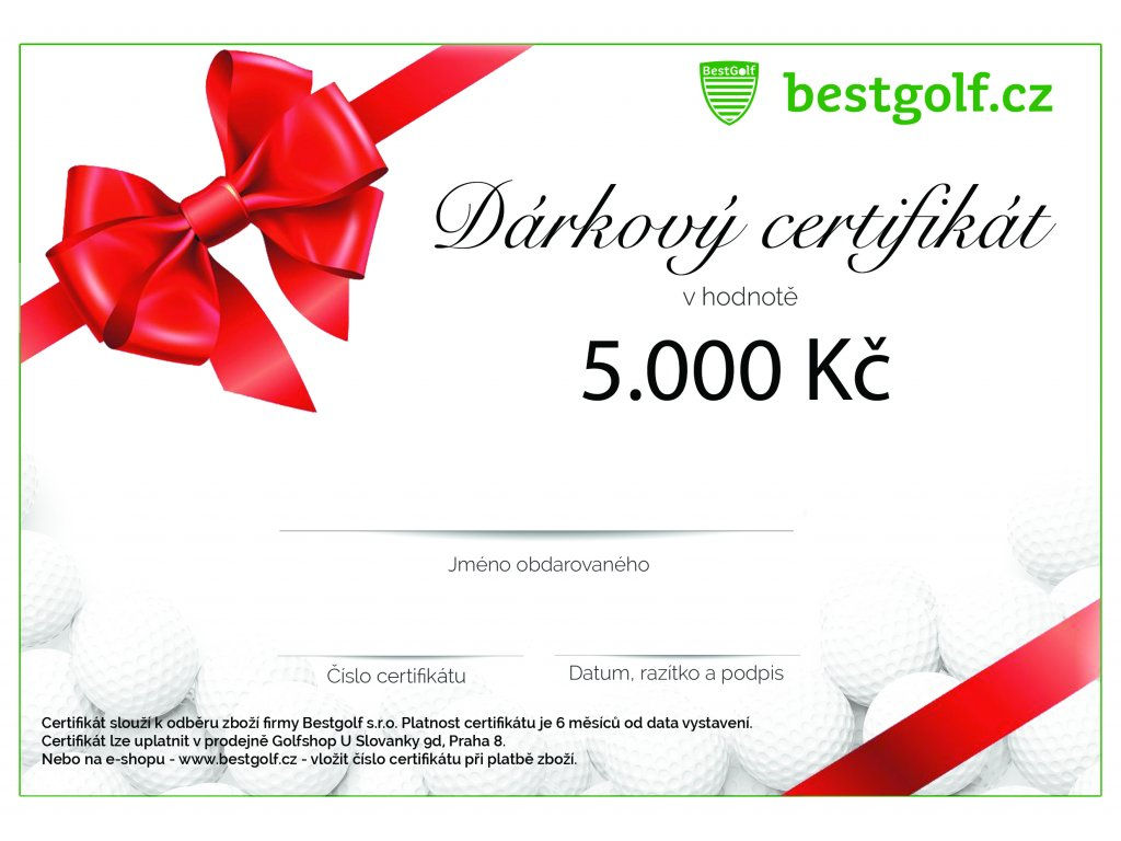 Dárkový certifikát v hodnotě 5000 Kč