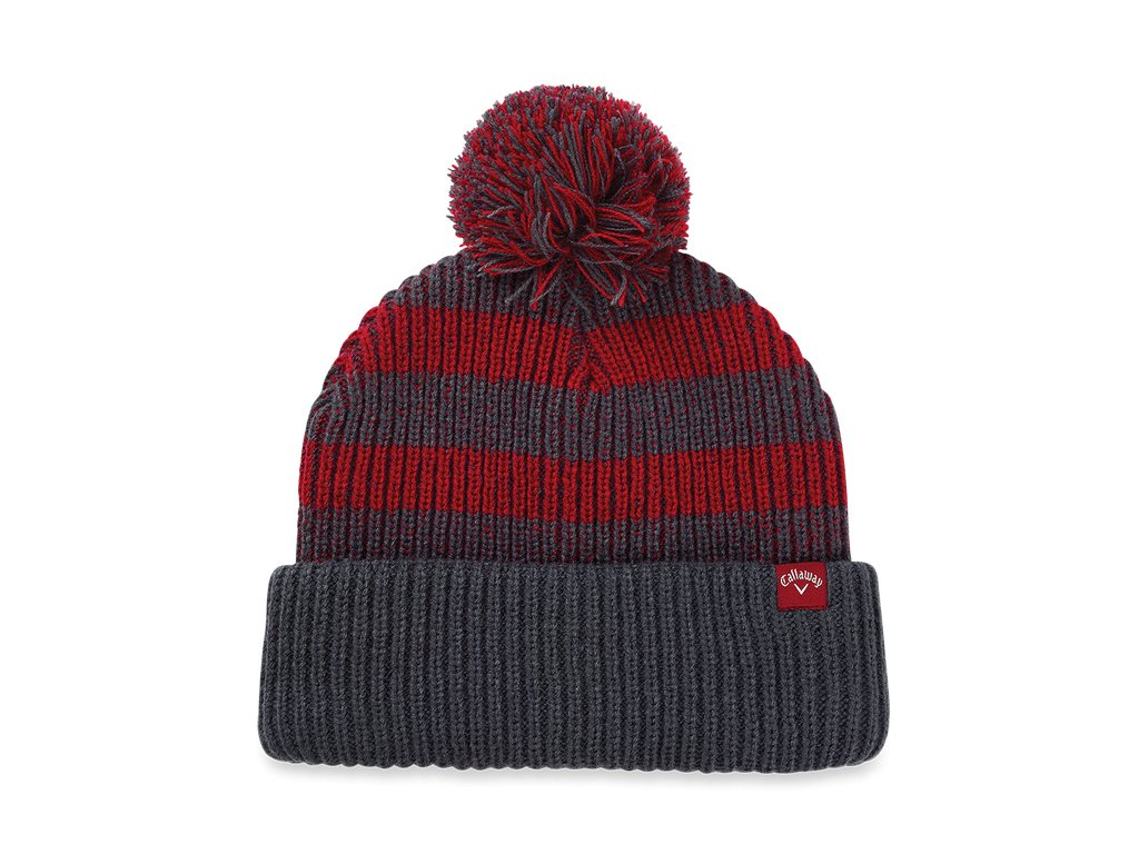 CALLAWAY zimní čepice Pom Pom Beanie šedo-červená