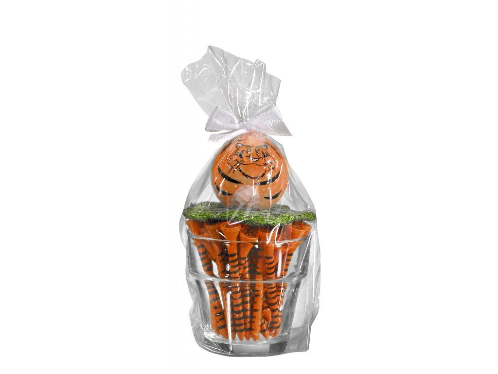 SPORTIQUES dárkové balení Tygr se skleničkou