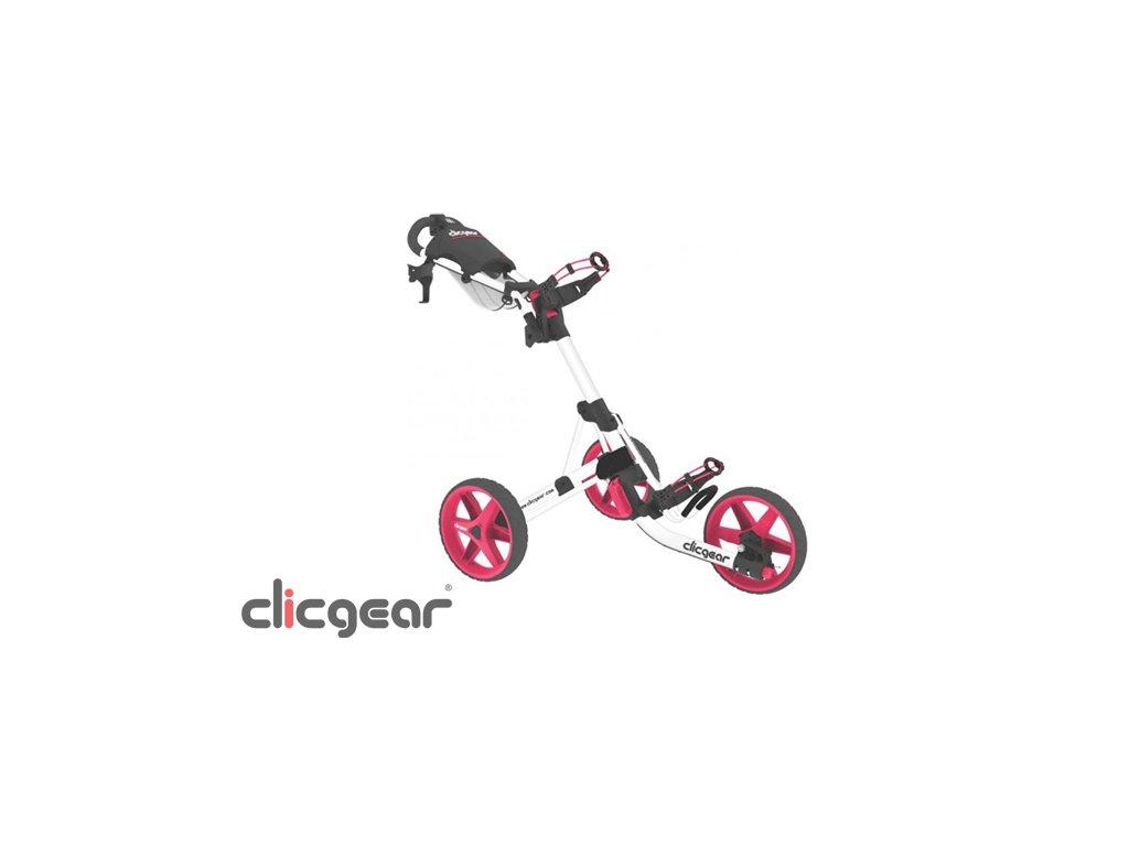 CLICGEAR 3.5+ golfový vozík bílo-růžový  + Velké balení týček 20 ks