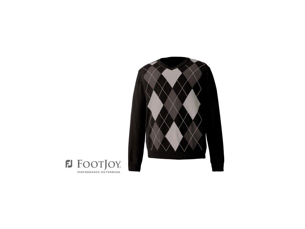 FOOTJOY svetr Fine Merino Argyle černo-šedá (Velikost oblečení S)