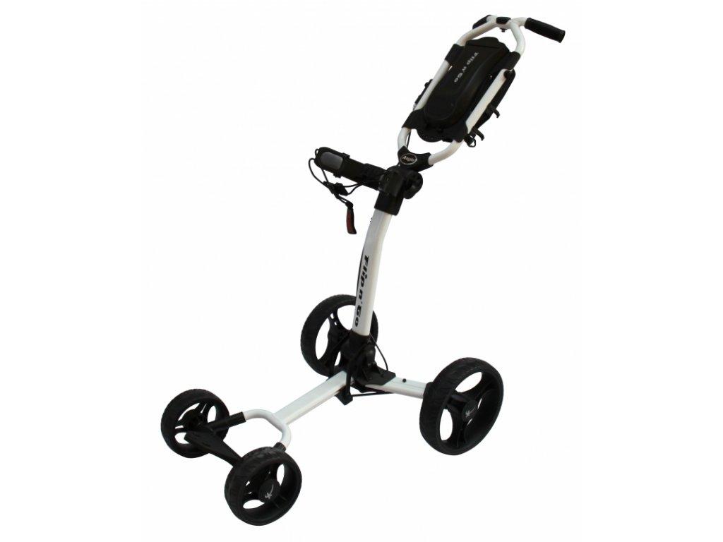 AXGLO Flip n´Go golfový vozík bílo-černý  + Držák na deštník + držák na lahev