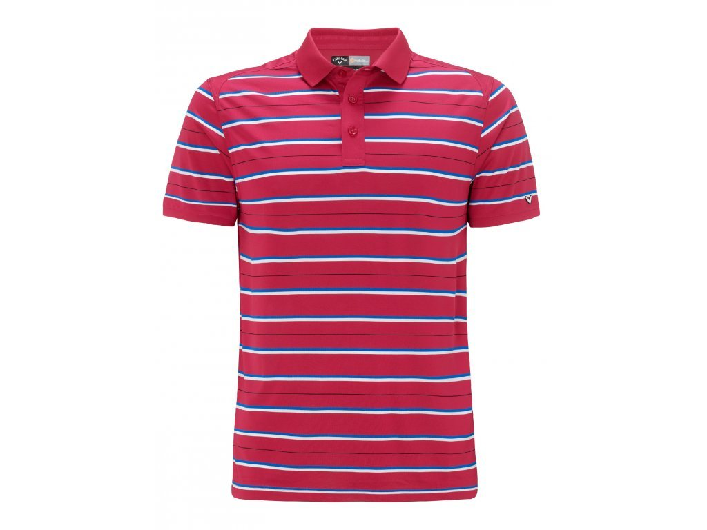 CALLAWAY pánské tričko Blade malinové s proužkem (Velikost oblečení S)