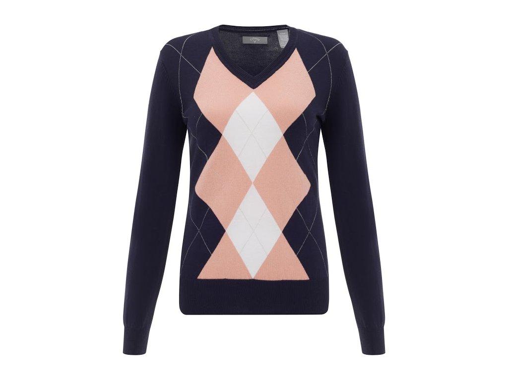 CALLAWAY dámský svetr Fashion Argyle modrý (Velikost oblečení XL)