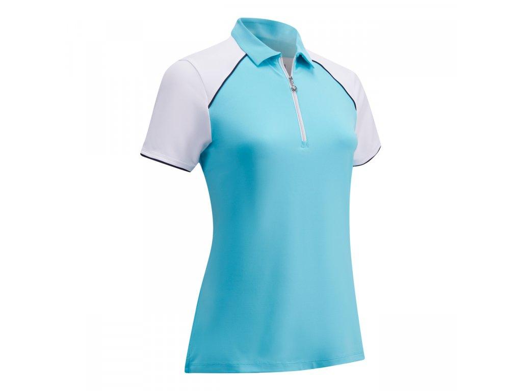 CALLAWAY dámské tričko 1/4 Zip Color Block modré zepředu