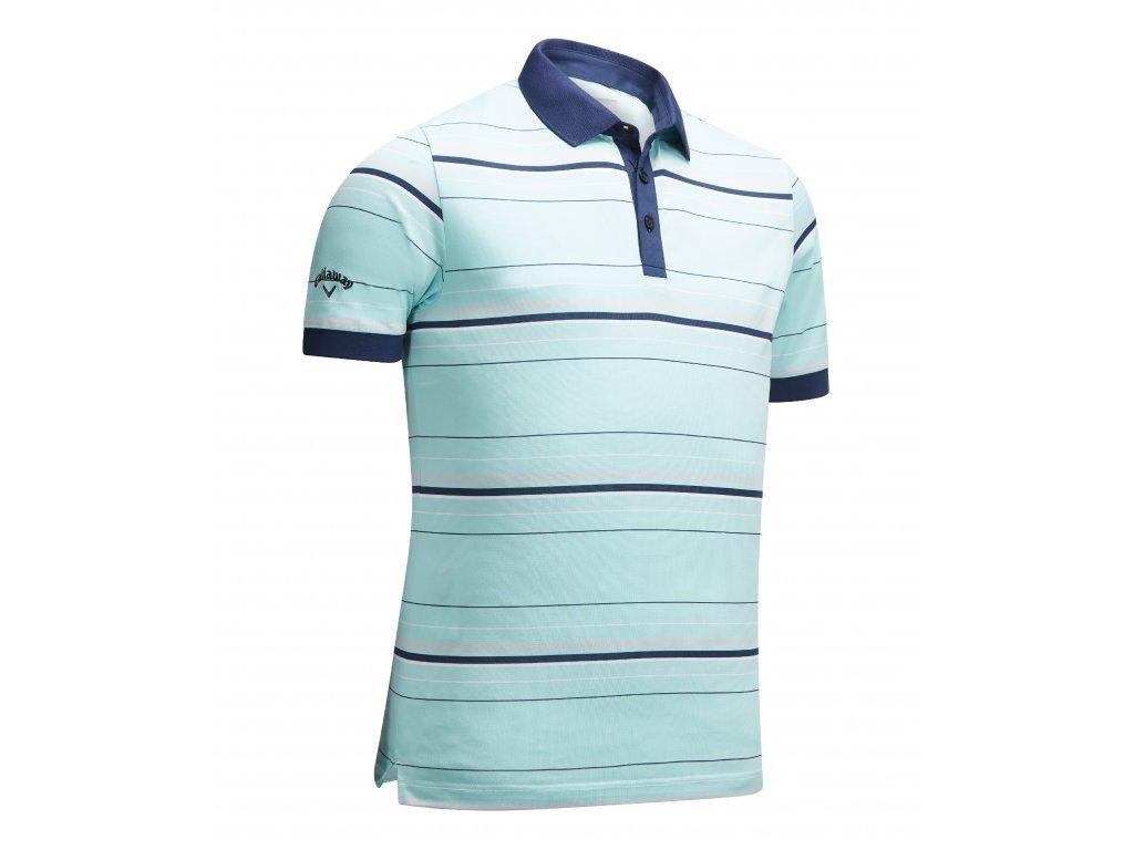 CALLAWAY pánské tričko Stripe zeleno-modré zepředu