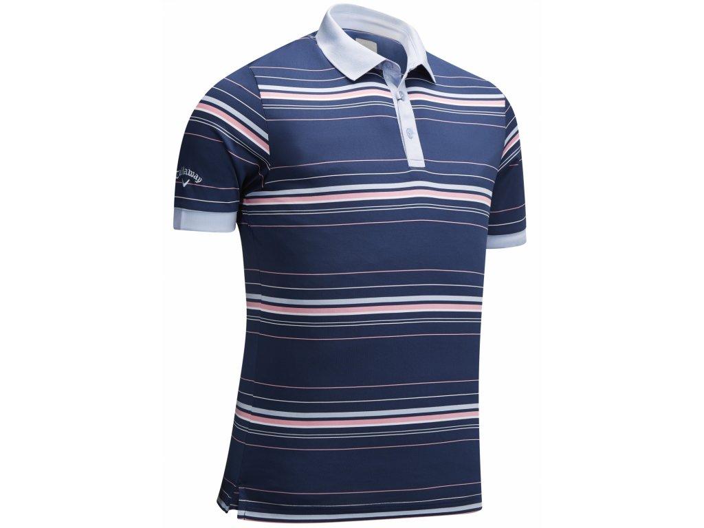 CALLAWAY pánské tričko Stripe modro-růžové