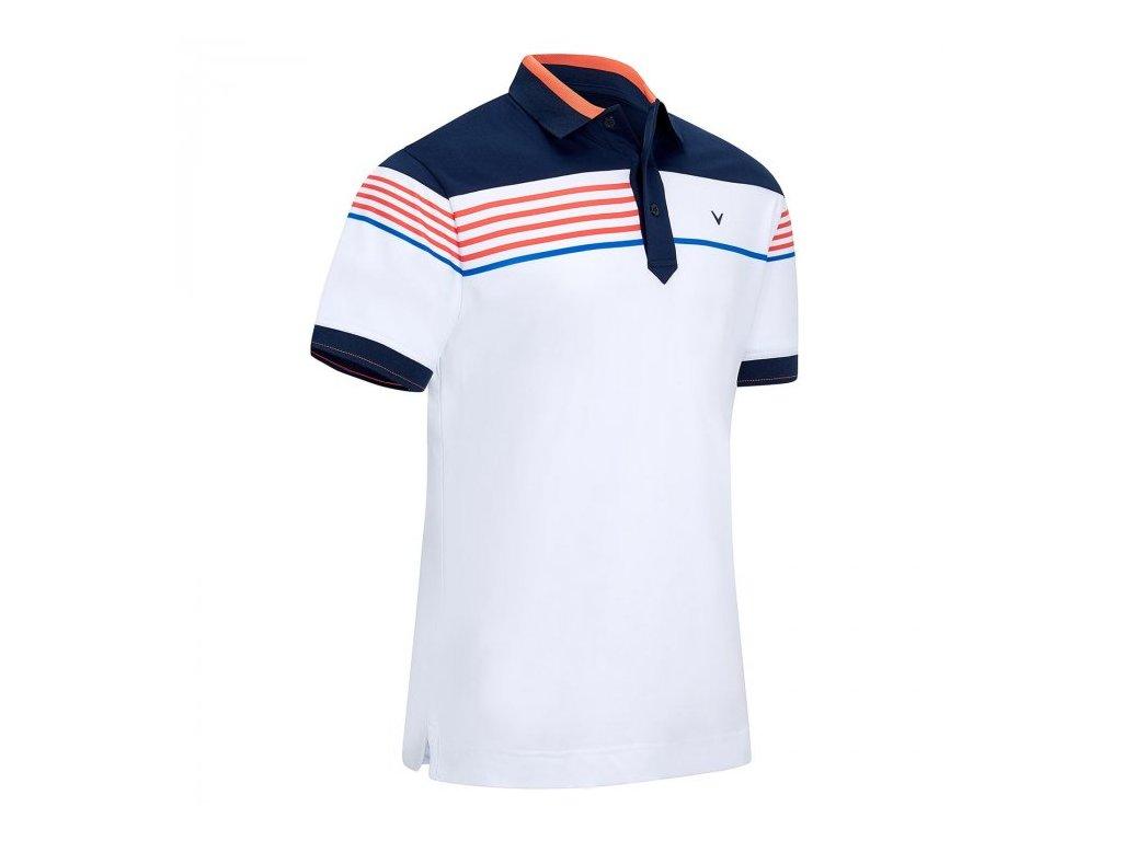 CALLAWAY pánské tričko Chest Stripe Block bílé zepředu