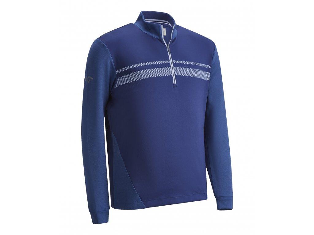 CALLAWAY Long Sleeve High Gauge Fleece pánská golfová mikina modrá zepředu