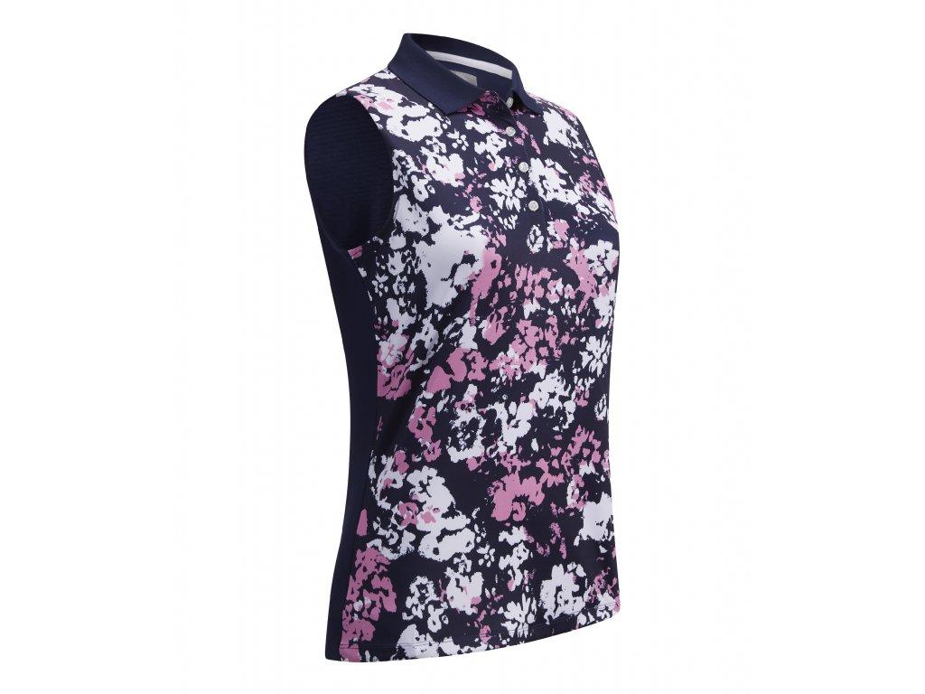 Callaway dámské tričko Floral Print Sleeves modro-růžovo-bílé zepředu