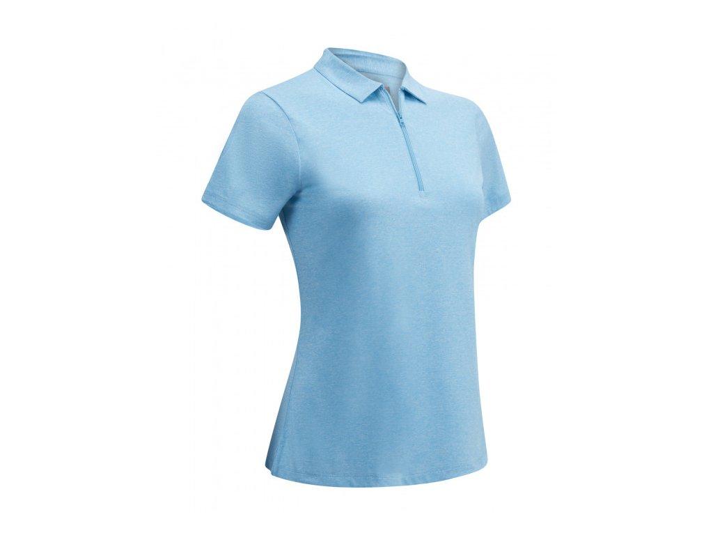 CALLAWAY dámské tričko 1/4 Zip Short Sleeve Heathered modré zepředu