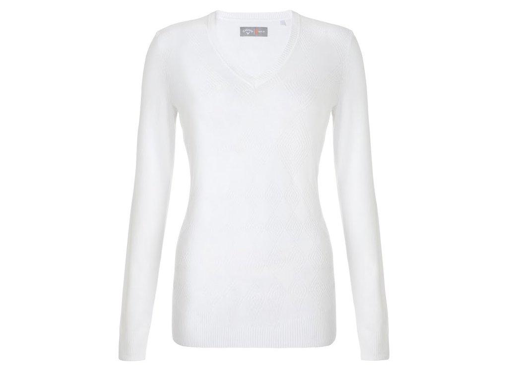 CALLAWAY dámský svetr Argyle bílý (Velikost oblečení L)