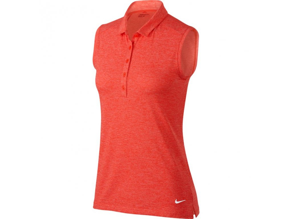 NIKE dámské tričko Icon Heather Polo červeno-oranžové (Velikost oblečení L)