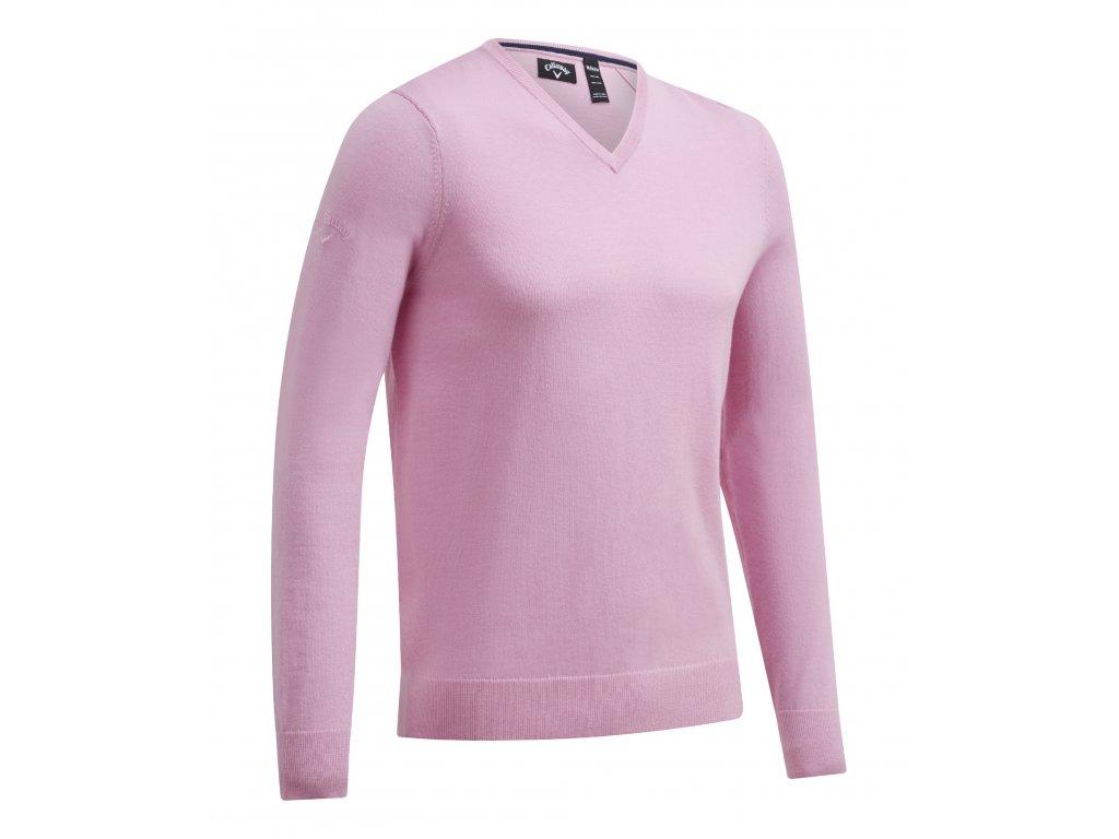 CALLAWAY V-Neck Merino pánský golfový svetr světle růžový