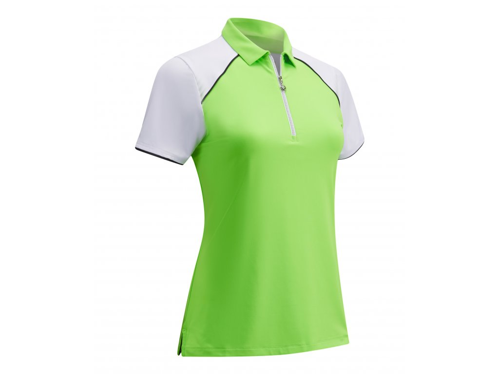 CALLAWAY dámské tričko 1/4 Zip Color Block zelené zepředu