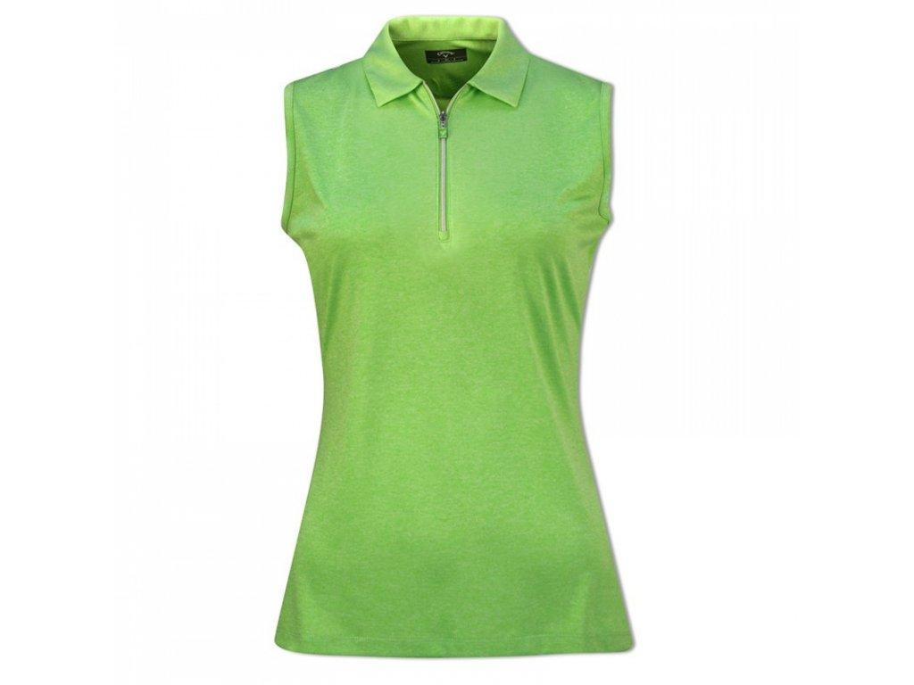 CALLAWAY dámské tričko 1/4 Zip Sleeveless Heathered zelené zepředu
