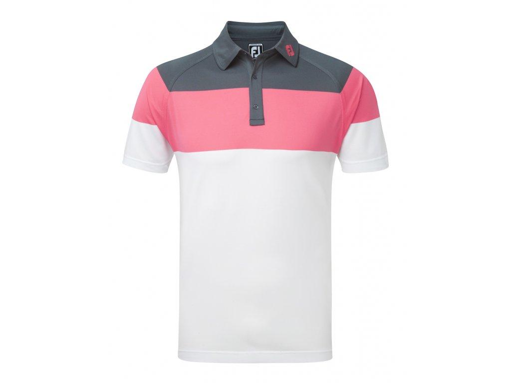 FOOTJOY pánské triko Raglan Chest Stretch bílo-šedo-růžové (Velikost oblečení XL)