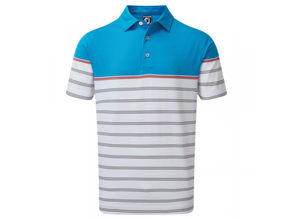 FOOTJOY pánské tričko Stretch Lisle Colour Block Stripe modro-bílé zepředu