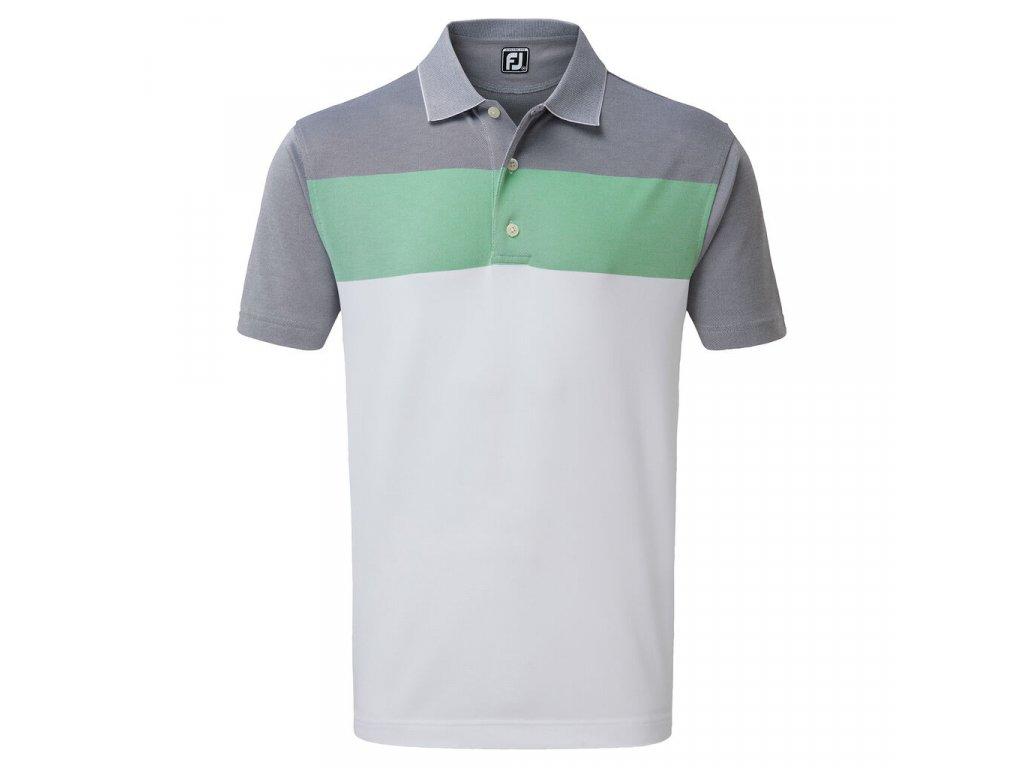 FOOTJOY pánské tričko Birdseye Jacquard šedo-zeleno-bílé zepředu