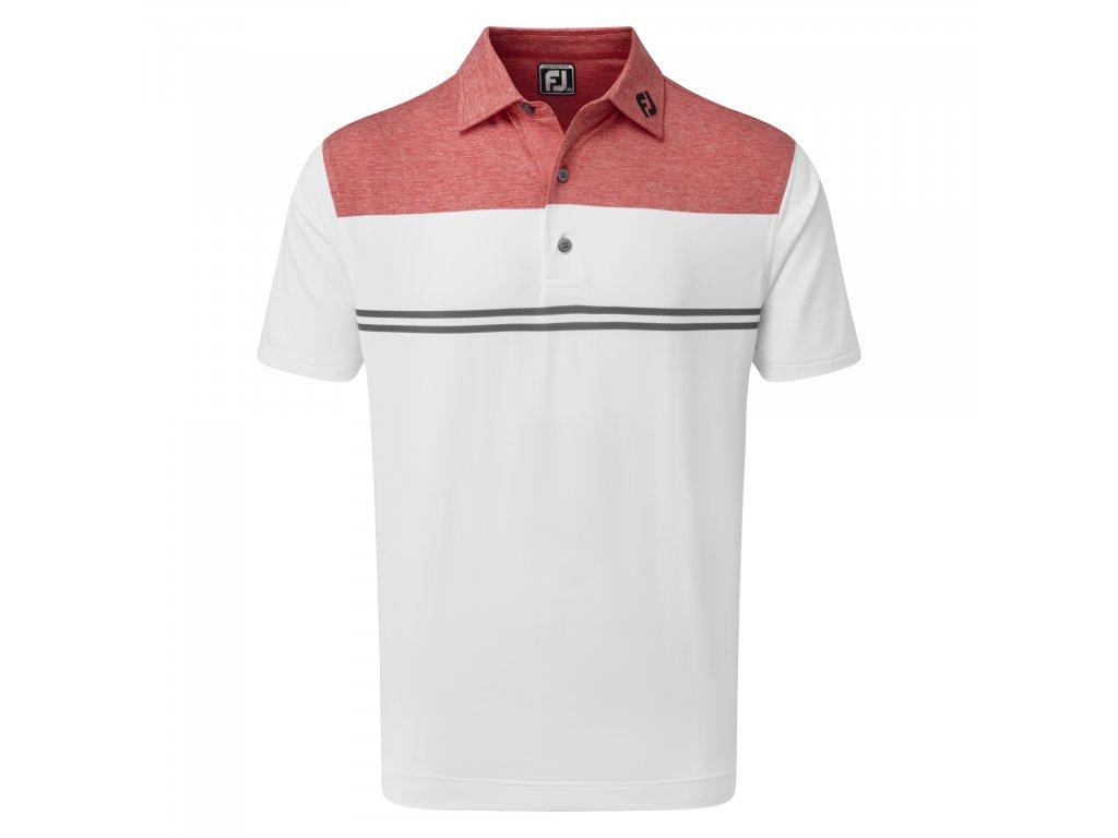 FOOTJOY pánské tričko H.Colour Block Lisle červeno/bílé