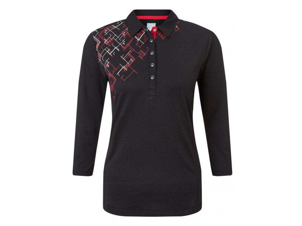 CALLAWAY dámské tričko 3/4 Sleeve Placed černé  + Malé balení týček 10 ks