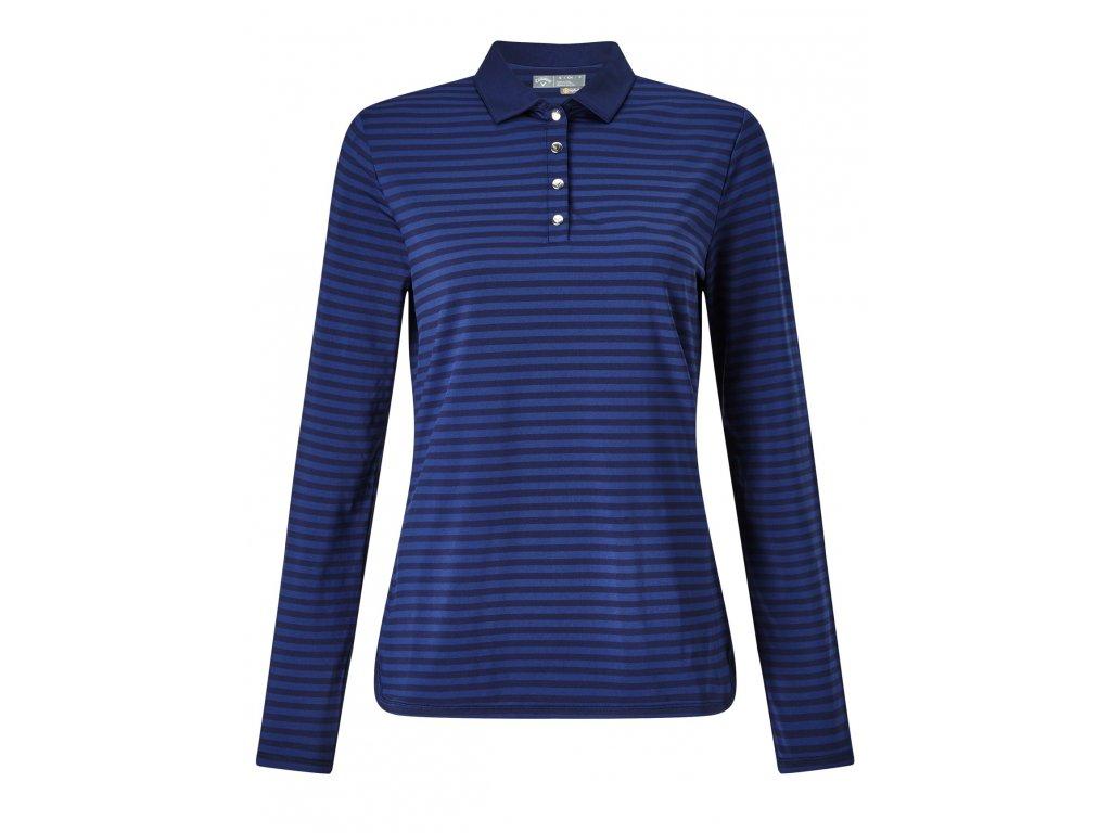 CALLAWAY dámské tričko Long Sleeve Tonal Stripe modré (Velikost oblečení XL)