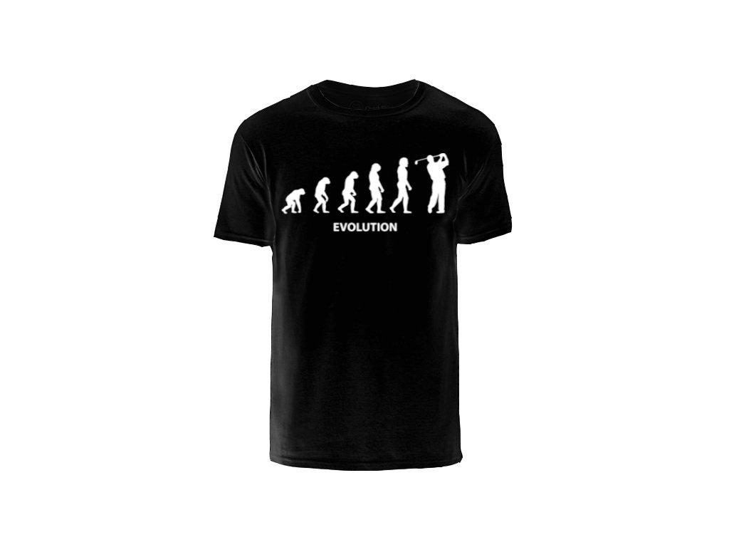 Vtipné triko s golfovým motivem Evoluce ČERNÉ vel. (Velikost oblečení L)