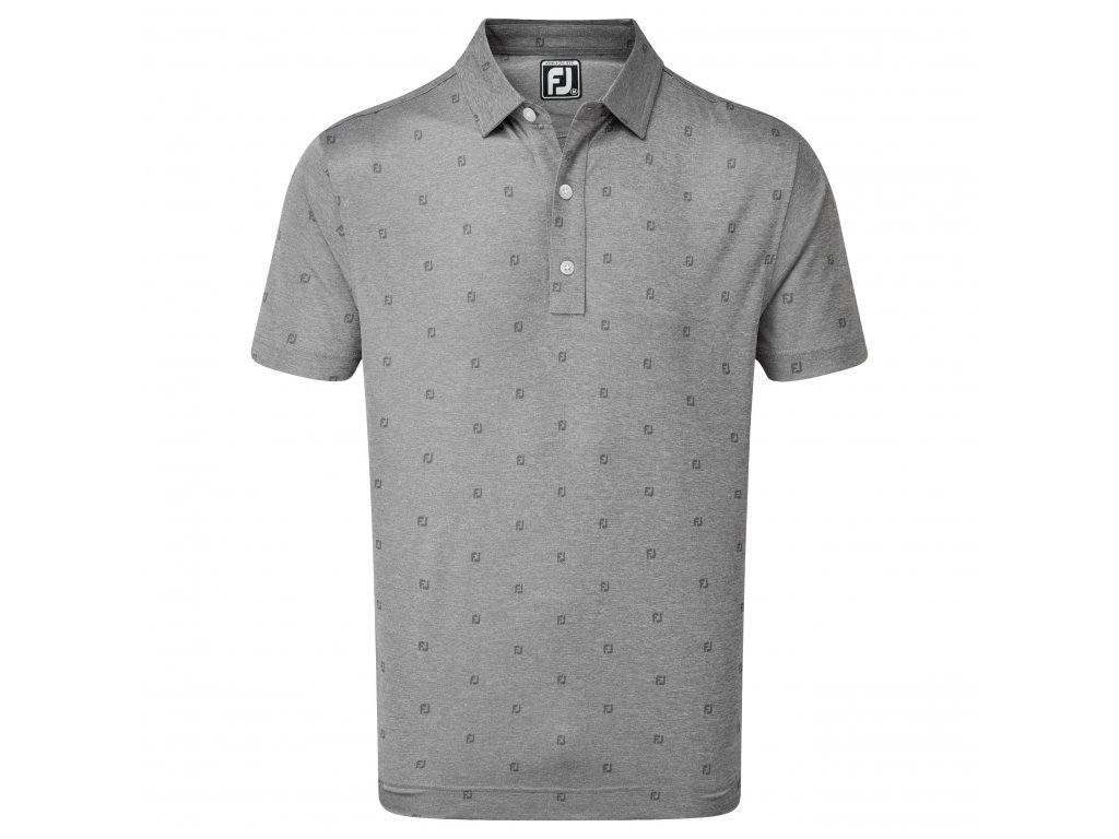 FOOTJOY Smooth Pique FJ Tonal Print pánské tričko šedé