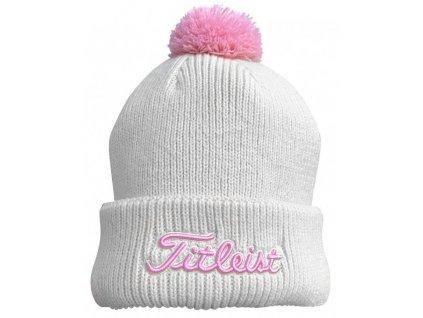 TITLEIST Pom Pom zimní čepice bílo-růžová