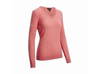 CALLAWAY V-Neck Merino dámský svetr růžový