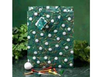 papírová taška s motivem golfových míčků a tee