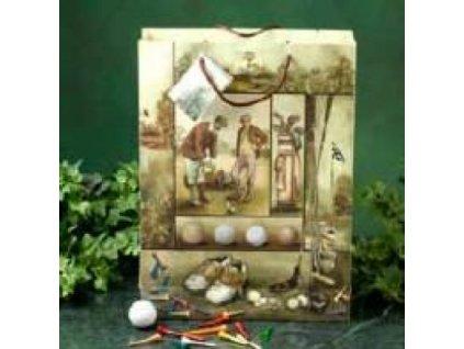 Papírová taška s motivem historie golfu.