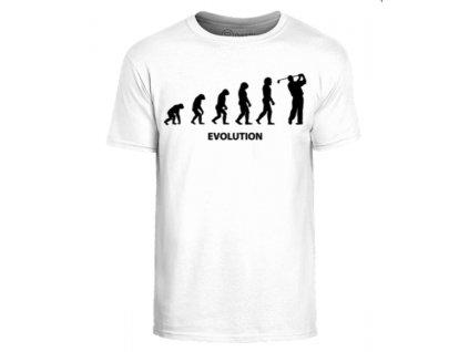 Vtipné triko s golfovým motivem Evoluce BÍLÉ