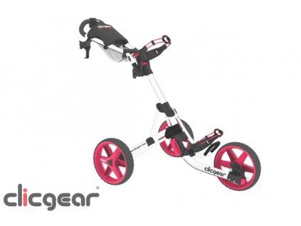 CLICGEAR 3.5+ golfový vozík bílo-růžový  + Kartáček na čištění holí