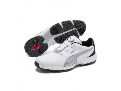 PUMA Drive Fusion Disc pánské golfové boty bílo-šedé  + Malé balení týček 10 ks