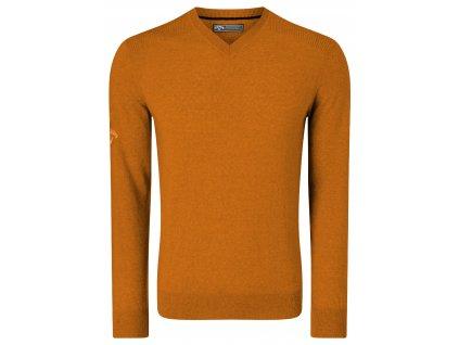 CALLAWAY V-Neck Merino pánský golfový svetr oranžový