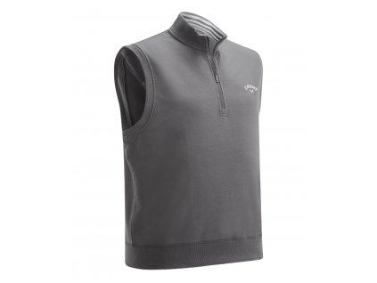CALLAWAY French Terry 1/4 Zip pánská golfová vesta šedá zepředu